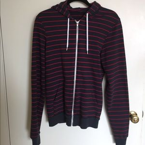 American apparel navy and red stripe fleece hoodie